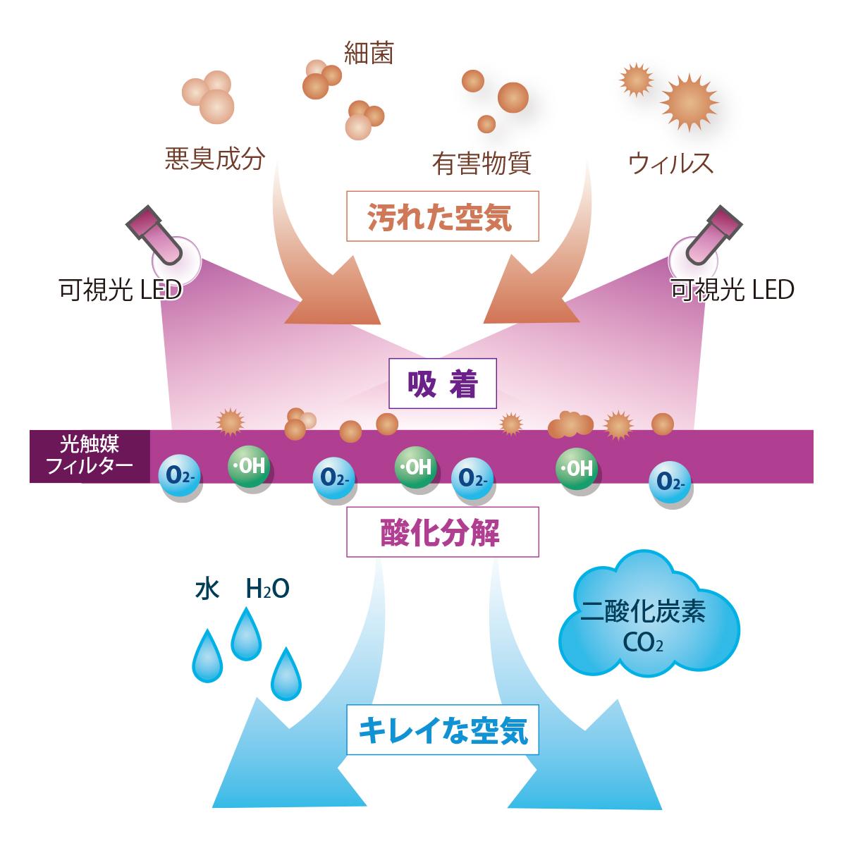 光触媒が吸着して分解